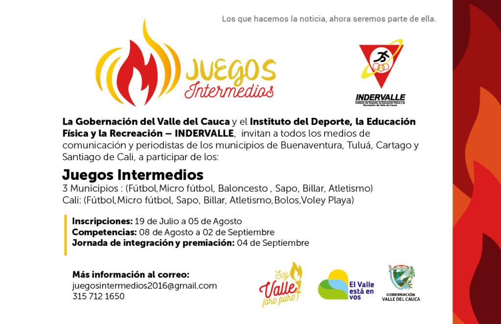 En Cali, Cartago, Tuluá y Buenaventura se jugarán los Juegos Intermedios del Valle del Cauca