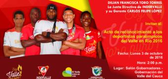 Deportistas paralímpicos del Valle en Río recibirán incentivos
