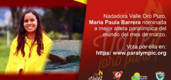 María Paula Barrera nominada a mejor deportista paralímpica del mundo mes de marzo