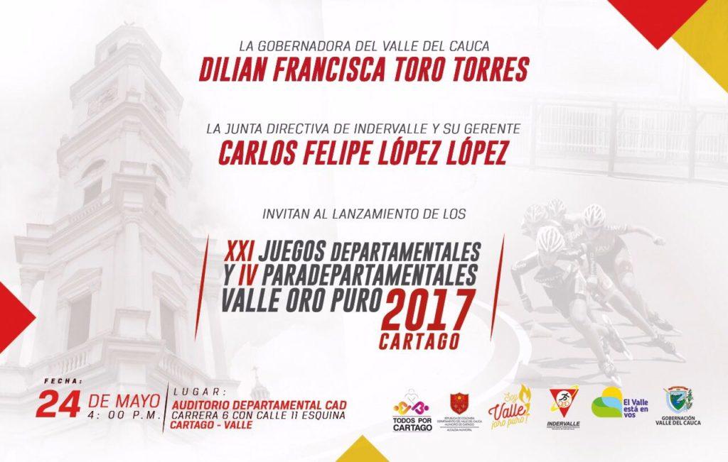 Cartago ya vive los Juegos Departamentales y Paradepartamentales con su lanzamiento