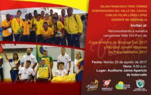 Reconocimiento Copa América de Boccias y Mundial Juvenil-Mayores de Para-Atletismo 2017 @ indervalle | Valle del Cauca | Colombia