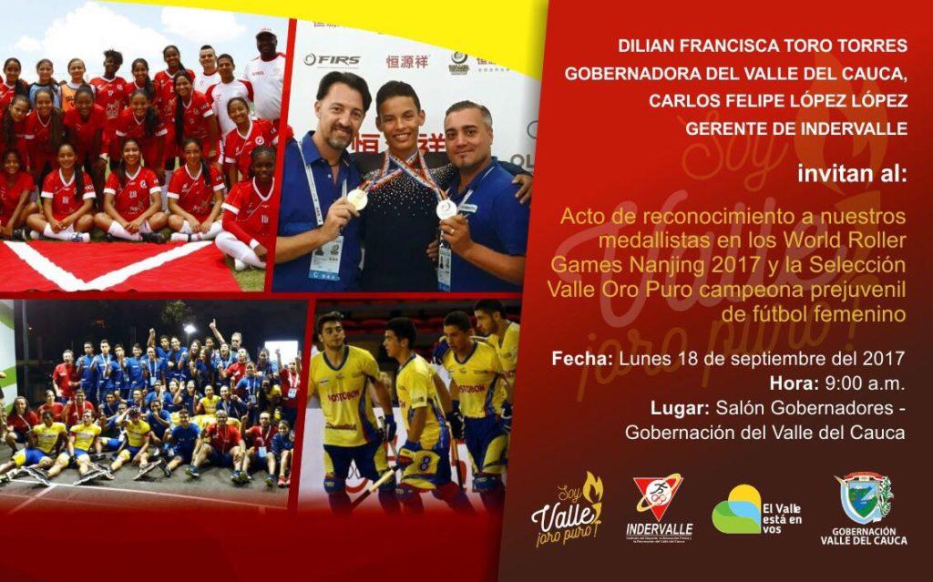 Campeones mundiales de patinaje y campeonas nacionales de fútbol serán exaltados por la gobernadora del Valle