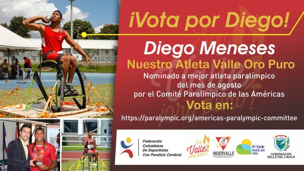 Para-atleta vallecaucano Diego Meneses, goza con una nominación de lujo