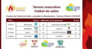 Torneo masculino Fútbol de salón -Juegos Intermedios @ La Bombobera | Valle del Cauca | Colombia