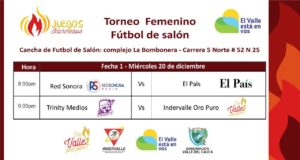 Torneo Femenino Fútbol de salón-Juegos Intermedios @ La Bombobera | Valle del Cauca | Colombia