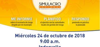 Indervalle se vincula al sexto Simulacro Nacional de Respuesta a Emergencias