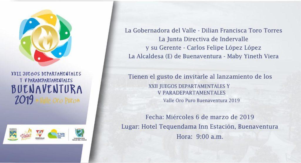 """El Valle del Cauca está listo para sus XXII Juegos Departamentales y V Paradepartamentales """"Valle Oro Puro Buenaventura 2019"""""""