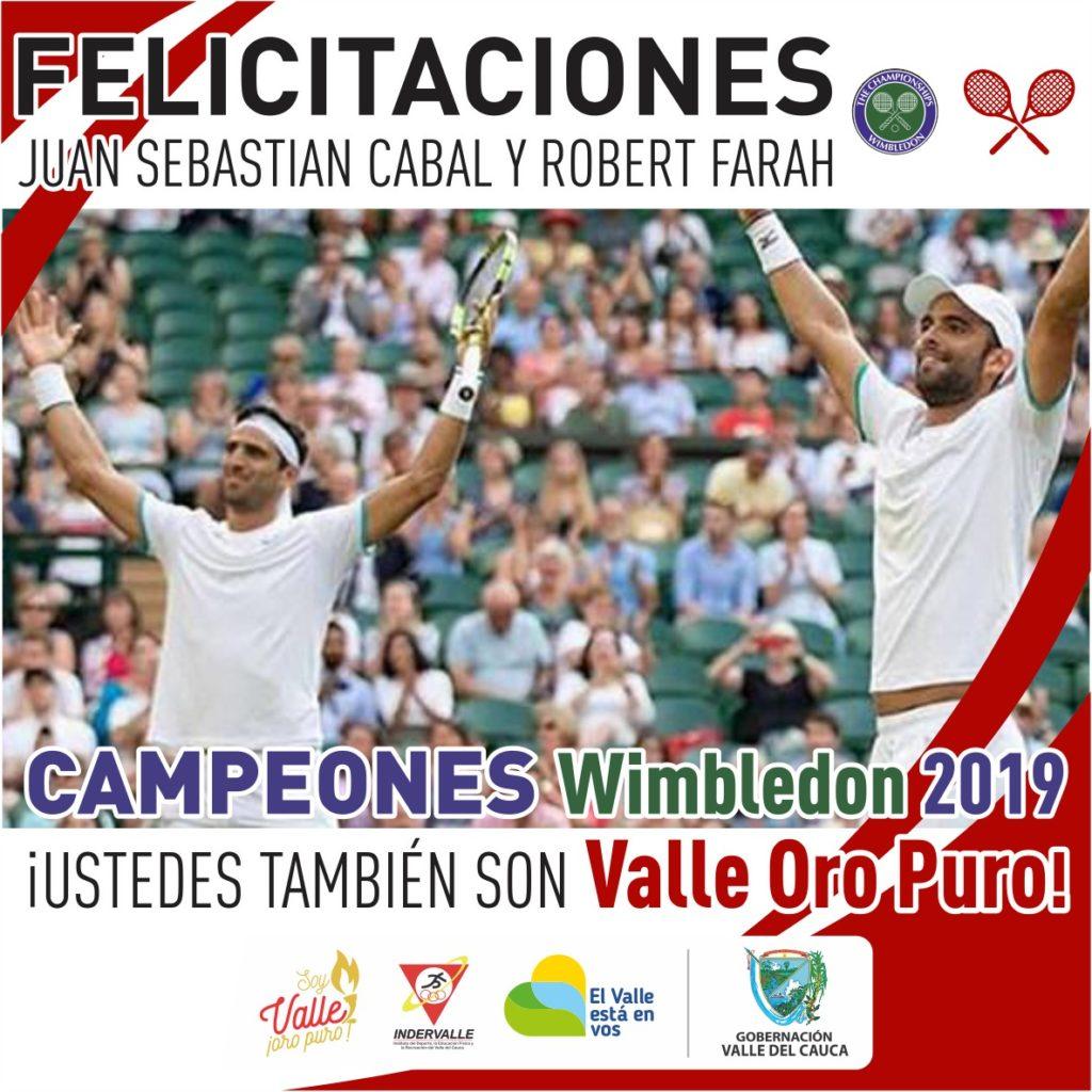 ¡Júbilo nacional! Los vallecaucanos Juan Sebastián Cabal y Roberth Farah, son campeones de Wimbledon 2019